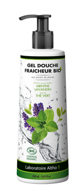 GEL DOUCHE FRAICHEUR BIO. HE de Menthe & Lavandin. Extrait de Thé Vert. 500ML