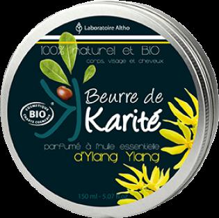 BEURRE DE KARITE BIO parfumé à l'Huile Essentielle d'YLANG YLANG 150ML